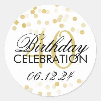 De elegante Gouden Folie van de 40ste Verjaardag Ronde Sticker