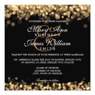 De elegante Gouden Lichten van het Huwelijk 13,3x13,3 Vierkante Uitnodiging Kaart