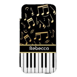 De elegante gouden muziek neemt nota piano van