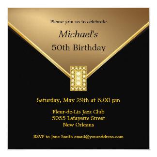 De elegante Gouden Zwarte 50ste Uitnodigingen van