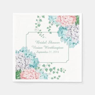 De elegante Hydrangea hortensia's en Servetten van Wegwerp Servet