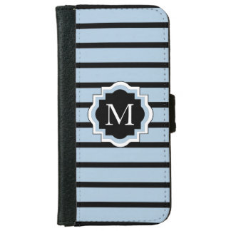 DE ELEGANTE IPHONE6 STREPEN BLUE/BLACK VAN DE iPhone 6 PORTEMONNEEHOESJE