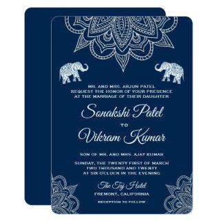 De elegante Marineblauwe Uitnodiging van het