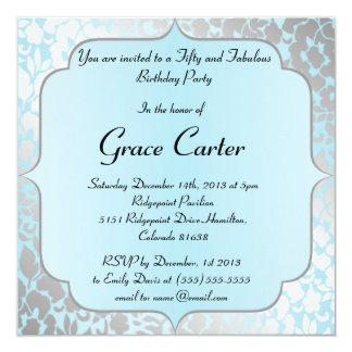 De elegante Metaal Blauwe Uitnodiging van de Parti
