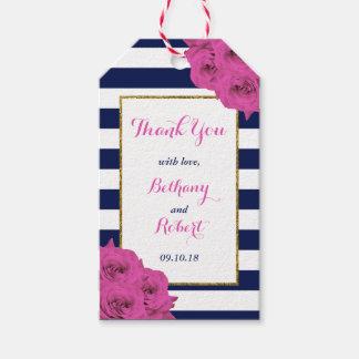 De elegante Moderne Roze Rozen van het Collectie Cadeaulabel