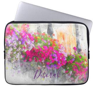De elegante Mooie Bloemen Moderne Waterverf van de Computer Sleeve