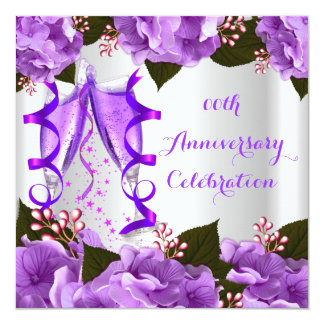 De elegante Paarse Bloemen van de Partij van het 13,3x13,3 Vierkante Uitnodiging Kaart
