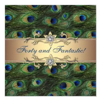 De elegante Partij van de Verjaardag van de Pauw 13,3x13,3 Vierkante Uitnodiging Kaart