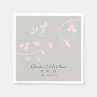 De elegante Pastelkleur bloost Roze & Grijs Papieren Servet