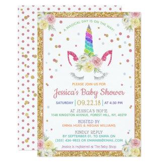 De elegante Regenboog schittert het Baby shower Kaart