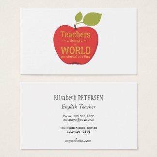 De elegante rode appel van de leraar met citaat visitekaartjes