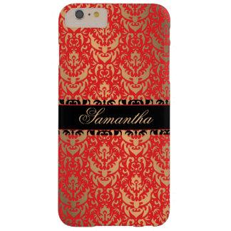 De elegante Rode en Gouden Naam van de Douane van Barely There iPhone 6 Plus Hoesje