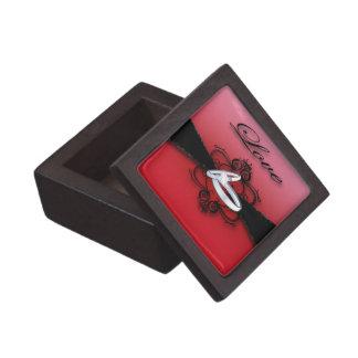 De elegante Rode en Zwarte Doos van de Trouwring Premium Bewaar Doosje