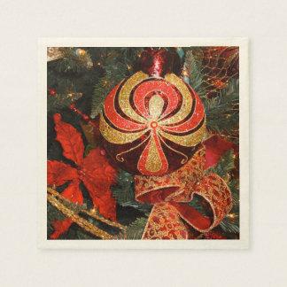 De elegante Rode Gouden Poinsettia van het Papieren Servet