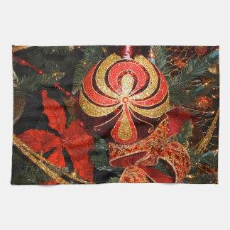 De elegante Rode Gouden Poinsettia van het Theedoeken