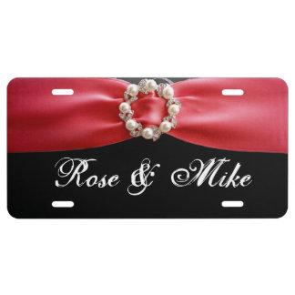 De elegante Rode Nummerplaat van de lintParel