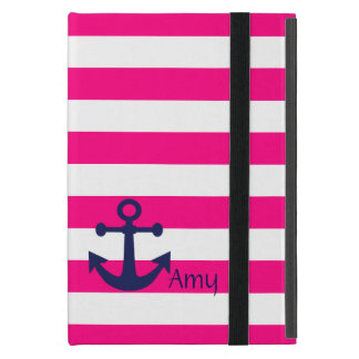 De elegante Roze en Witte Strepen/het Blauwe Anker iPad Mini Hoesje