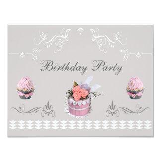 De elegante Roze & Grijze Partij van de Verjaardag Kaart