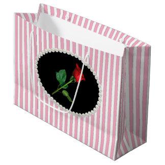 De elegante Roze Strepen, de Parels & het Rood Groot Cadeauzakje