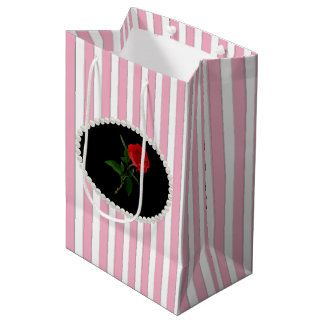 De elegante Roze Strepen, de Parels & het Rood Medium Cadeauzakje