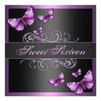 De elegante Roze Verjaardag van de Vlinder Sweet16 13,3x13,3 Vierkante Uitnodiging Kaart