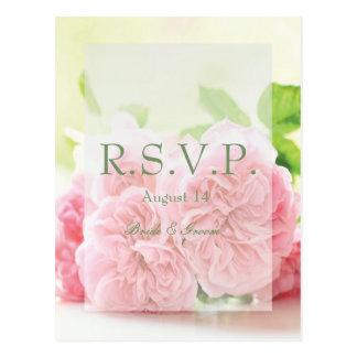 De elegante Roze Zomer nam Huwelijk RSVP toe Briefkaart
