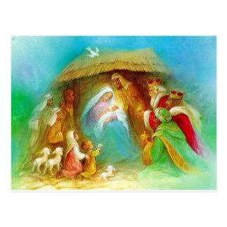 De elegante scène van de Geboorte van Christus, Briefkaart