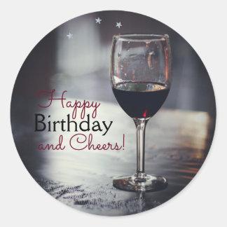 De elegante Stickers van de Verjaardag wijn-Themed