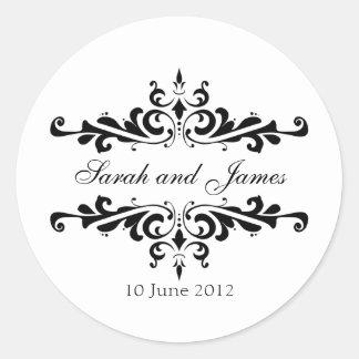 De elegante Stickers van het Huwelijk met Namen en