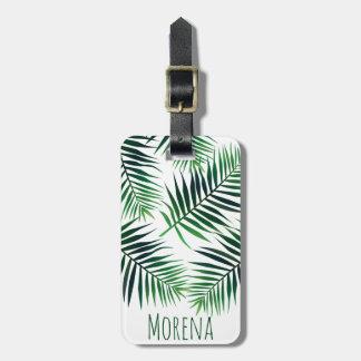 De elegante Tropische Varenbladen & de Naam van de Kofferlabel