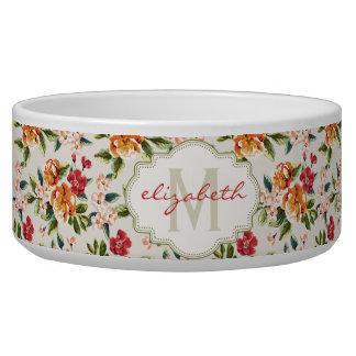 De elegante Vintage Waterverf bloeit Met monogram Voerbakje