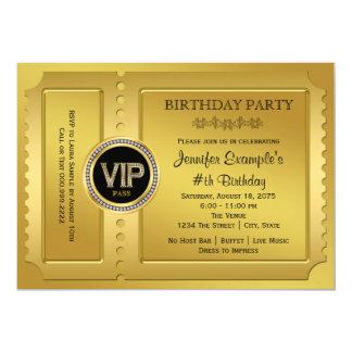 De elegante VIP Gouden Partij van de Verjaardag 12,7x17,8 Uitnodiging Kaart