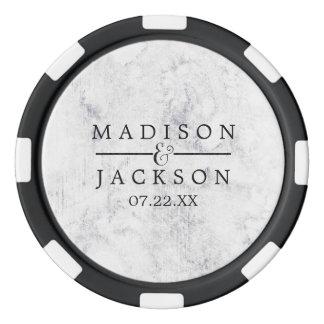 De elegante Witte & Grijze Marmeren Gunst van het Pokerchips