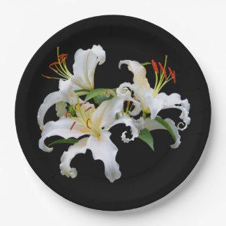 De elegante Witte Oosterse Lelies van Casablanca Papieren Bordje