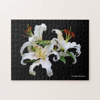 De elegante Witte Oosterse Lelies van Casablanca Puzzel