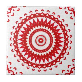 De elegante Witte Rode Skandinavische VolksTextiel Keramisch Tegeltje