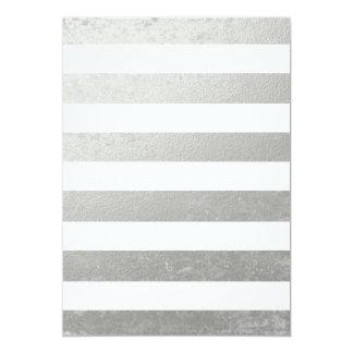 De elegante Witte Zilveren Gedrukte Folie van 12,7x17,8 Uitnodiging Kaart