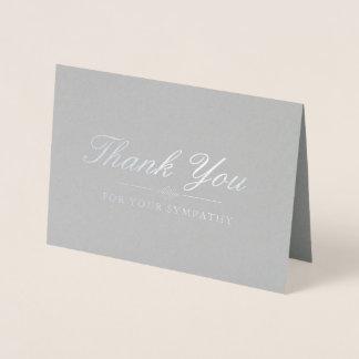 De elegante Zilveren & Grijze Sympathie dankt u Folie Kaarten