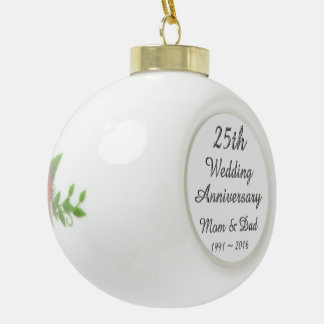 de Elegante Zilveren Typografie van het 25ste Keramische Bal Ornament