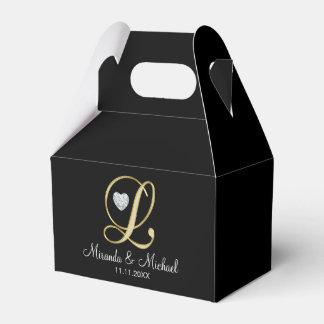 De elegante Zwarte Gouden Gift van het Huwelijk Bedankdoosjes