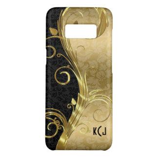 De Elegante Zwarte Gouden Wervelingen met monogram Case-Mate Samsung Galaxy S8 Hoesje