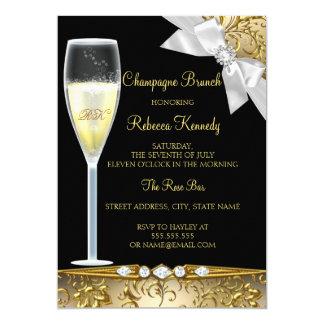 De elegante Zwarte Gouden Witte Brunch van 12,7x17,8 Uitnodiging Kaart