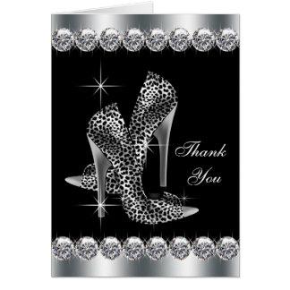 De elegante Zwarte Hoge Schoen van de Hiel dankt u Briefkaarten 0