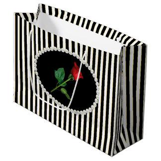 De elegante Zwarte Strepen, de Parels & het Rood Groot Cadeauzakje