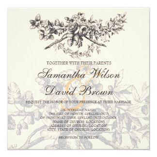 De elegante Zwarte van het Decor van het Huwelijk 13,3x13,3 Vierkante Uitnodiging Kaart