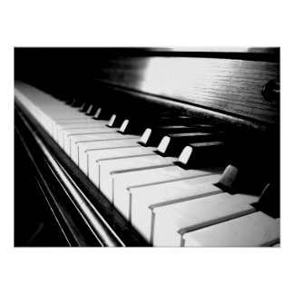 De elegante Zwarte & Witte Fotografie van de Piano Poster