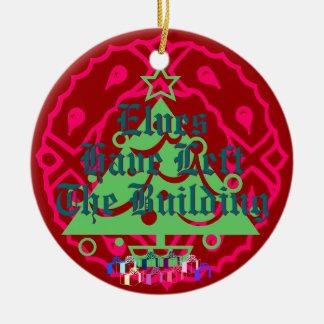 De elf hebben het Gebouw verlaten Rond Keramisch Ornament