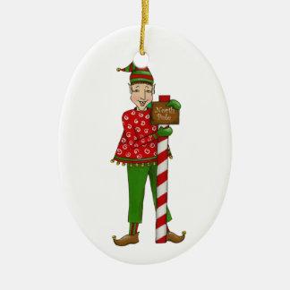 """De Elf """"Horatius """" van het kenwijsje Keramisch Ovaal Ornament"""