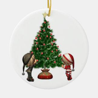 De Elf van Kerstmis - verfraai de boom Rond Keramisch Ornament
