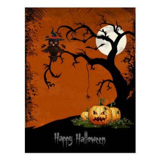De enge Boom van Halloween met Pompoenen Briefkaart